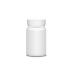 Blank medicine bottle isolated on white.