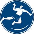 Handball Player Jumping Throwing Ball Icon