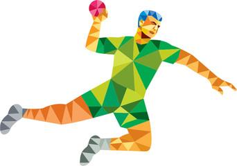 Handball Player Jumping Throwing Ball Low Polygon