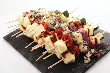 grilled halloumi vegetable kebabs