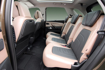 rear seats in a luxury car