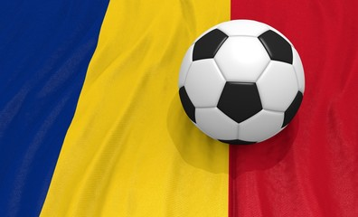3d illustration of a soccer ball on the flag of Romania