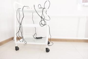 Medical trolley in beauty salon room