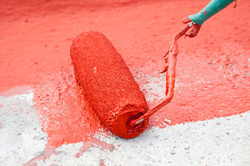 detail shot - red paint roller