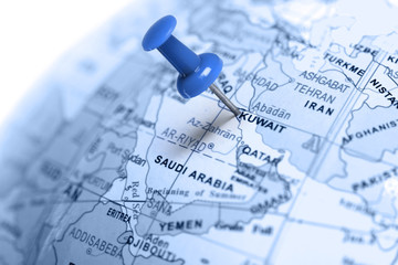 Location Kuwait. Blue pin on the map.