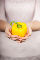 Close up photo of yellow paprika in female hands