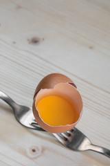 Broken egg rests on two forks