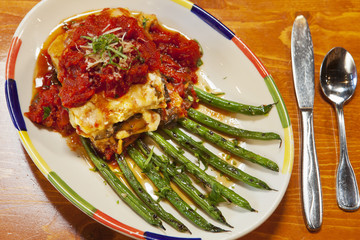 vegetarian roasted eggplant and three cheese lasagna with beans