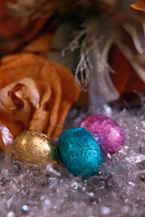 Chocolate eggs colorful and still life