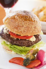 hamburger with caramelized onions, blue cheese and aioli