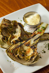 organic grilled artichokes with dipping sauce
