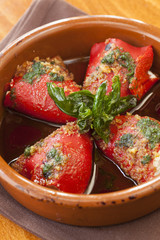vegetarian piquillo peppers stuffed with herbed goat cheese