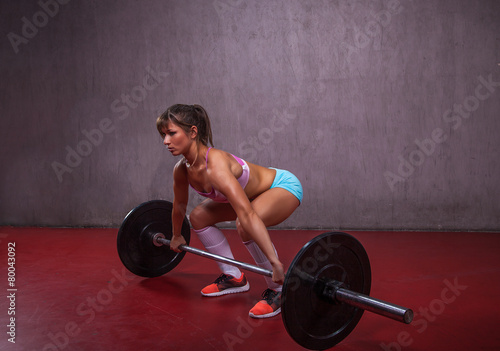 Poster Fitness Fit Girl Performing Deadlift