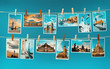 Pictures of european landmarks pinned on ropes, toned image - 80043480