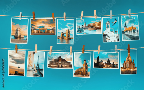 Fotobehang Centraal Europa Pictures of european landmarks pinned on ropes, toned image