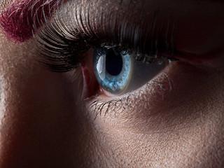 Female eye with long eyelashes close-up and red make-up
