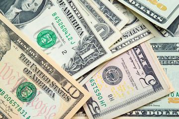 United States Dollars various values- Money background