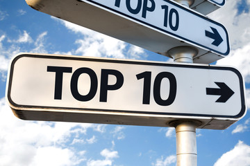 Top 10 direction sign on sky background