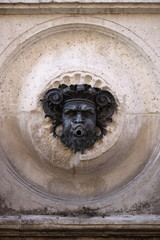 Closeup of Calamo fountain in Ancona, Italy