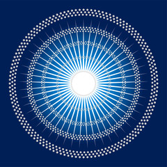 Abstract rays Circles mosaic blue Background