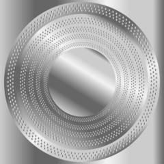 Circular brushed metal texture with dots