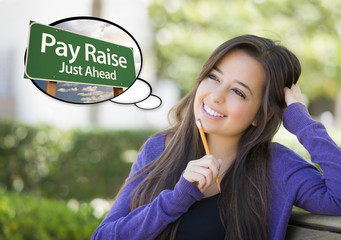 Young Woman with Thought Bubble of Pay Raise Green Sign