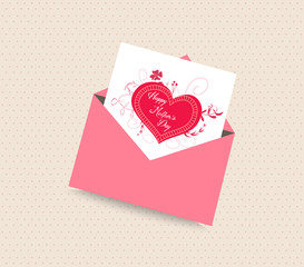 happy mothers day card with envelope heart
