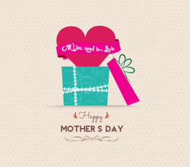 mothers day greeting card with gift