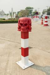 Skull Conceptual sculpture ,Road bollard traffic lane