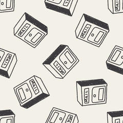 Doodle Mailbox seamless pattern background
