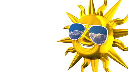 Golden Smiling Sun With Sunglasses On White Text Space