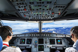 Pilots in the plane cockpit and cloudy sky - Fine Art prints
