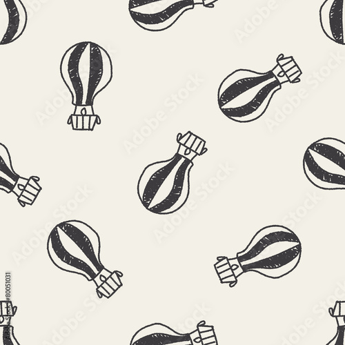 doodle hot air bollen seamless pattern background - 80051031
