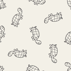 Doodle Tortoise seamless pattern background