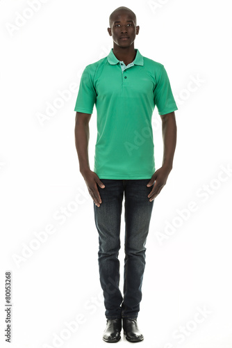 Black man in short sleeve collar shirt on white background Poster