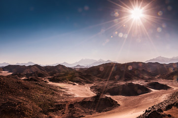 Beautiful high mountains in the Arabian desert