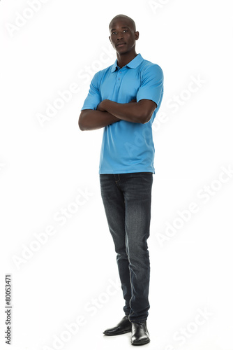Poster Black man in short sleeve collar shirt on white background
