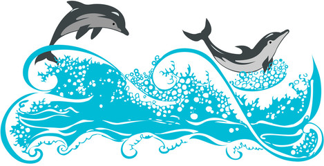 Dolphins jumping in waves