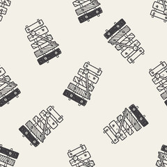 Doodle Xylophone seamless pattern background