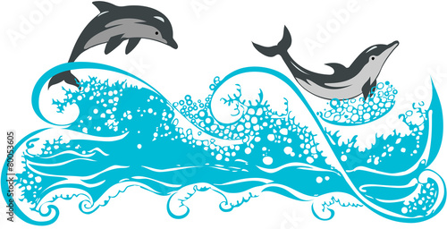 Dolphins jumping in waves - 80053605