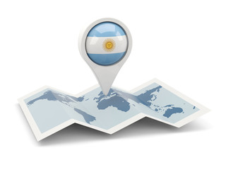 Round pin with flag of argentina