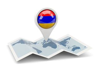 Round pin with flag of armenia