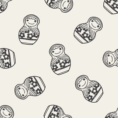 Doodle Russian Dolls seamless pattern background