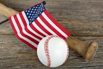 baseball and bat with American flag