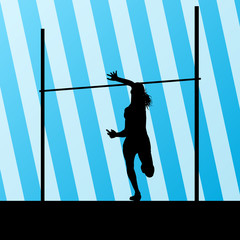 High jump woman vector abstract background