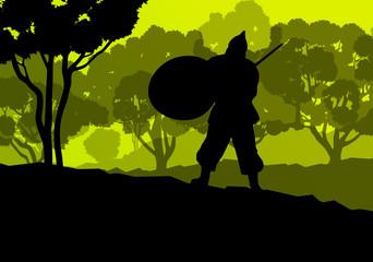 Medieval warrior, crusader vector background landscape concept