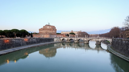 Castle of San Angelo, Rome, Italy. Time Lapse