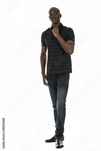 Poster Black man in stripped short sleeve collar shirt on white