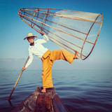 Traditional Burmese fisherman at Inle lake Myanmar