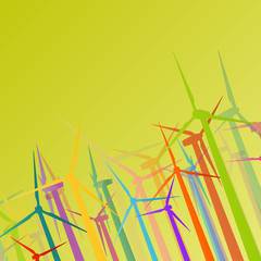 Colorful wind electricity generators and windmills detailed ecol